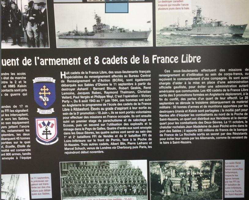 un panneau consacré aux cadets venus participer aux combats contre la poche de saint-Nazaire