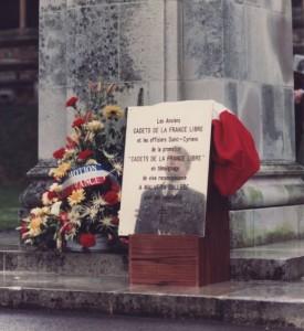 Plaque offerte au collège de Malvern en souvenir des Cadets de la France Libre hébergés en 1941 et 1942