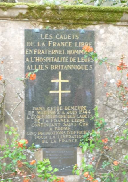 Cette plaque commémore la présence des cadets à Ribbesford