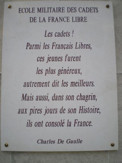 Saint-Cyr l'Ecole -Plaque des cadets